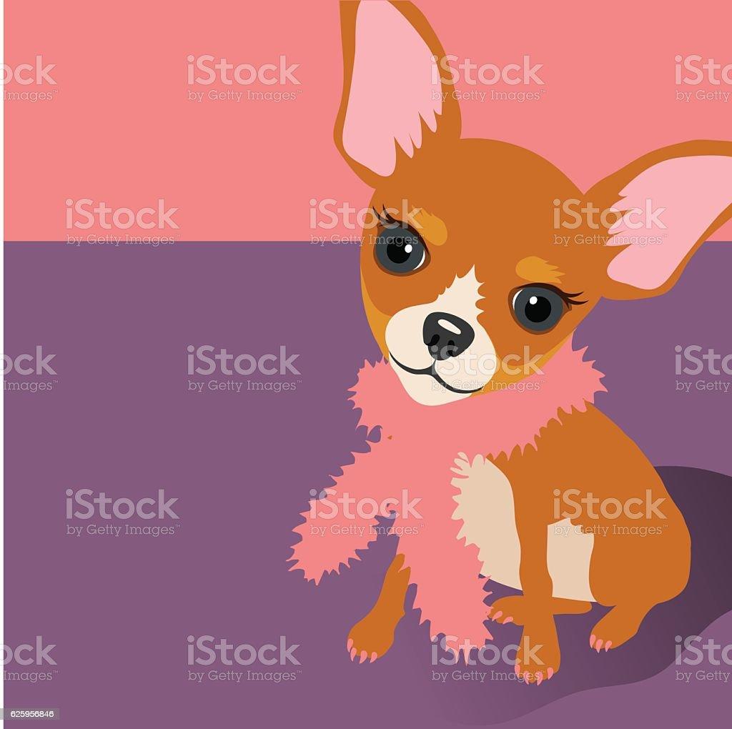 Illustration of a cute Chihuahua Dog sitting vector art illustration