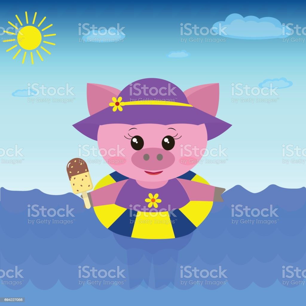 Illustration of a cute pig in the sea with ice cream. vector art illustration