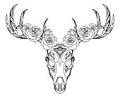 Illustration of a deer skull with roses and boho pattern.
