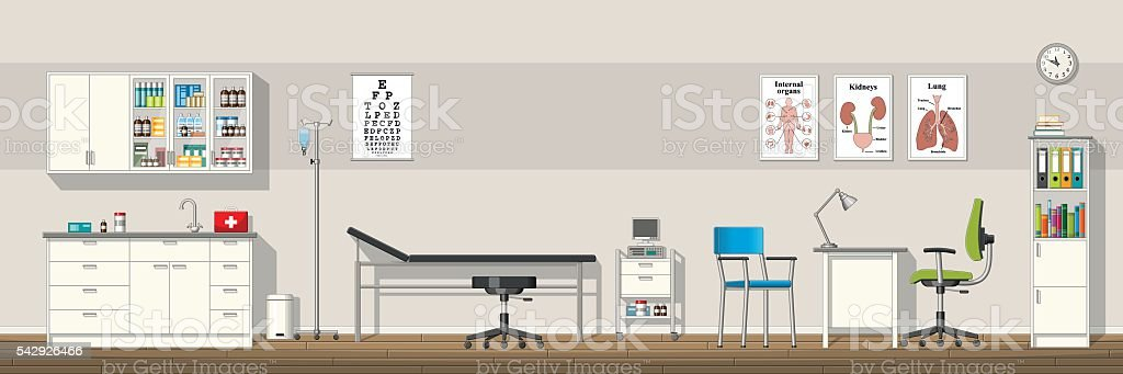 Illustration of a doctor office, panorama vector art illustration