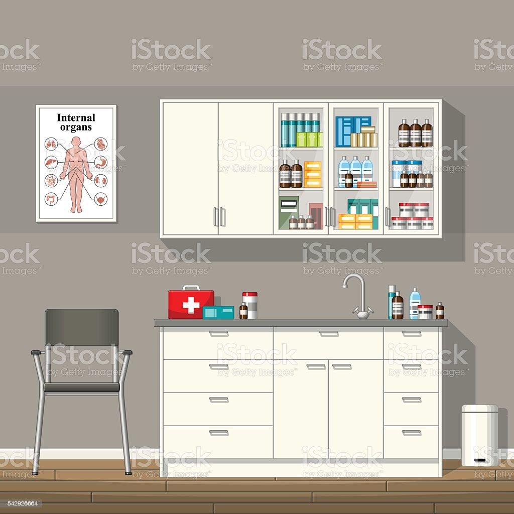 Illustration of a doctor office vector art illustration