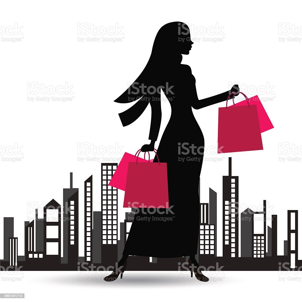 Illustration of a fashionable muslim woman with lots of bags vector art illustration