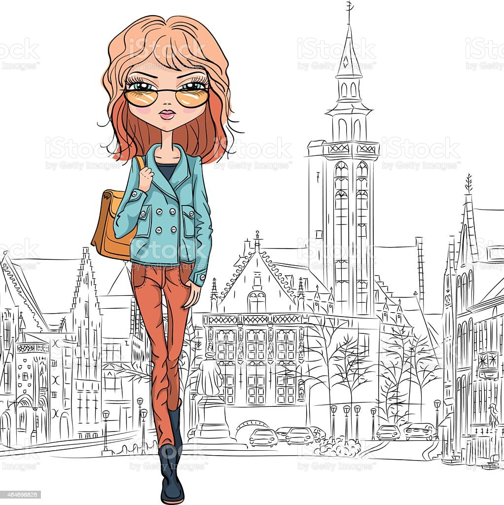 Illustration of a fashionable young lady walking in Bruges vector art illustration