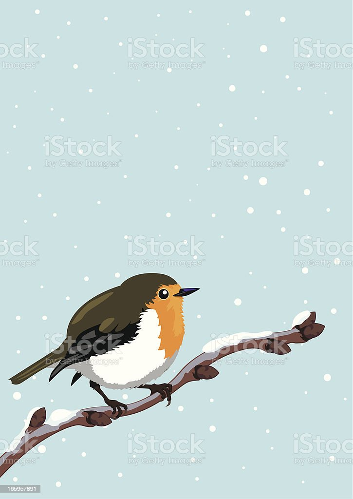 Illustration of a fat robin on a branch during a snowstorm vector art illustration