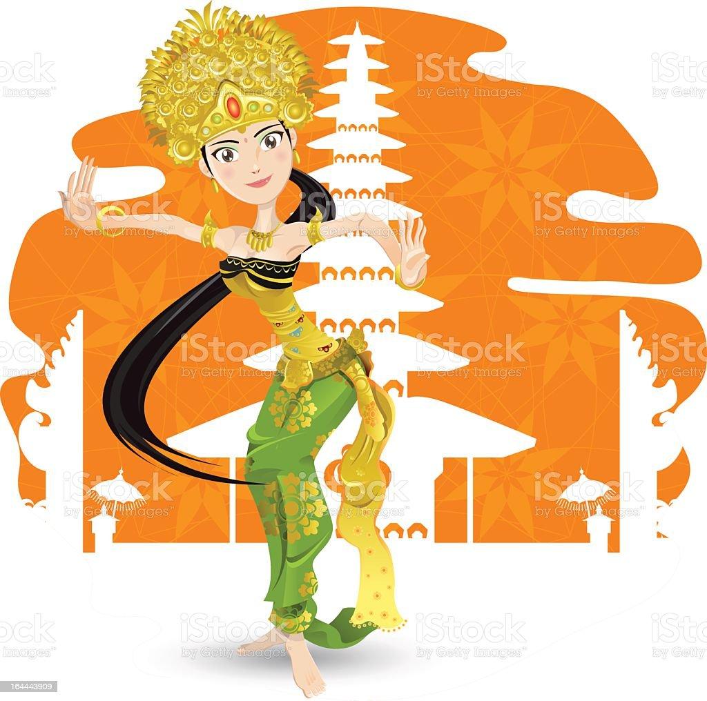 Illustration of a female Balinese dancer vector art illustration