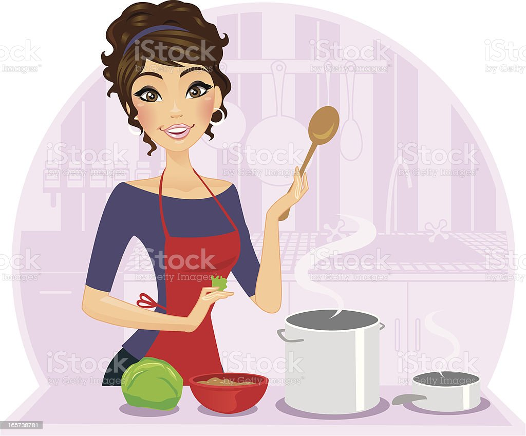 Illustration of a female chef cooking royalty-free stock vector art
