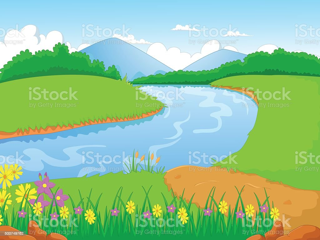 Illustration of a forest with a river and flower vector art illustration