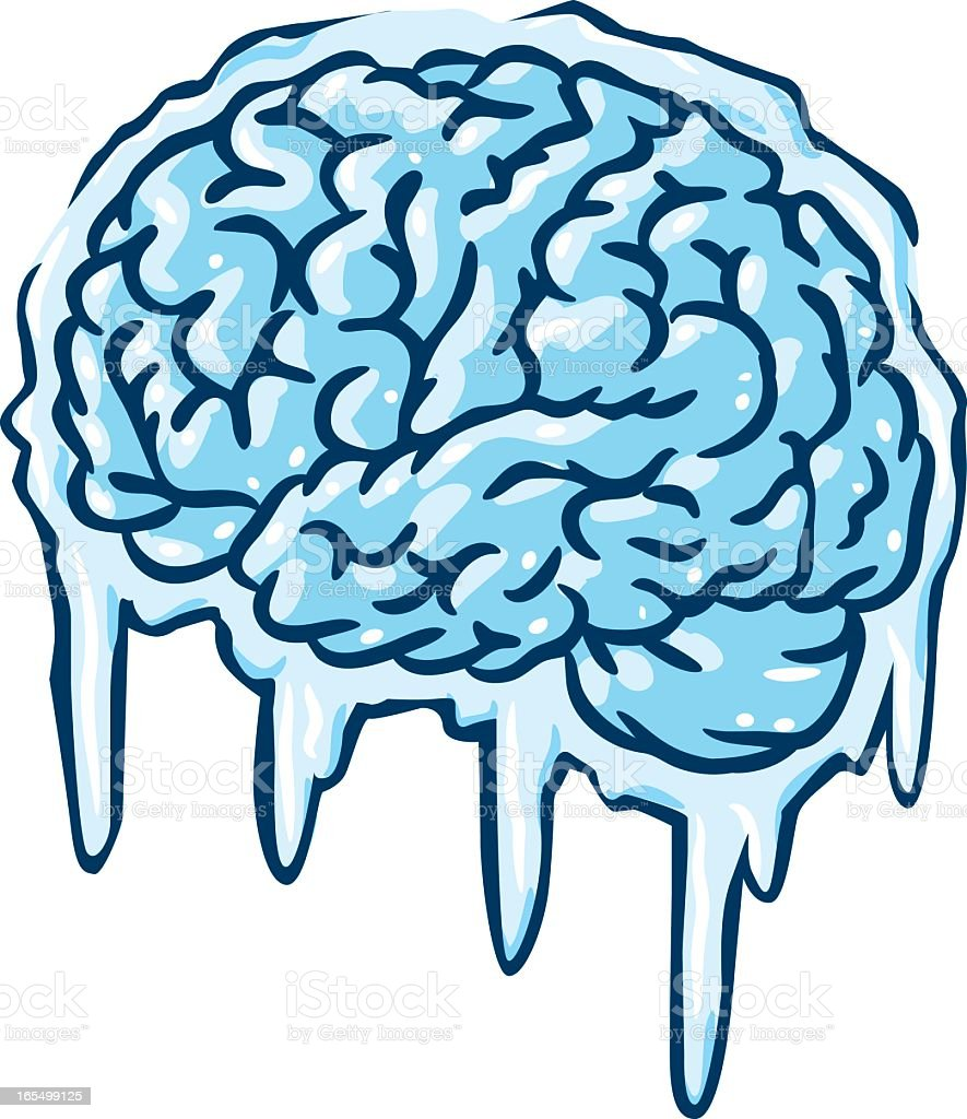 Illustration of a frozen brain vector art illustration