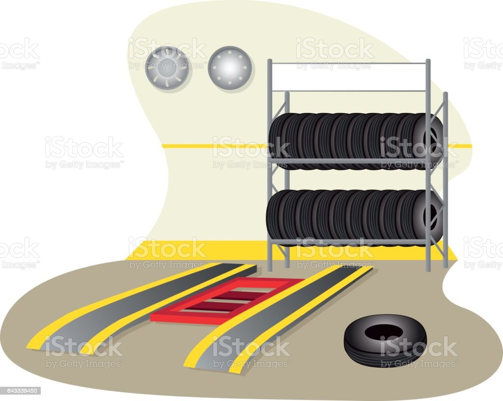 Illustration of a garage, mechanics, tire repair. Ideal for training and institutional material vector art illustration