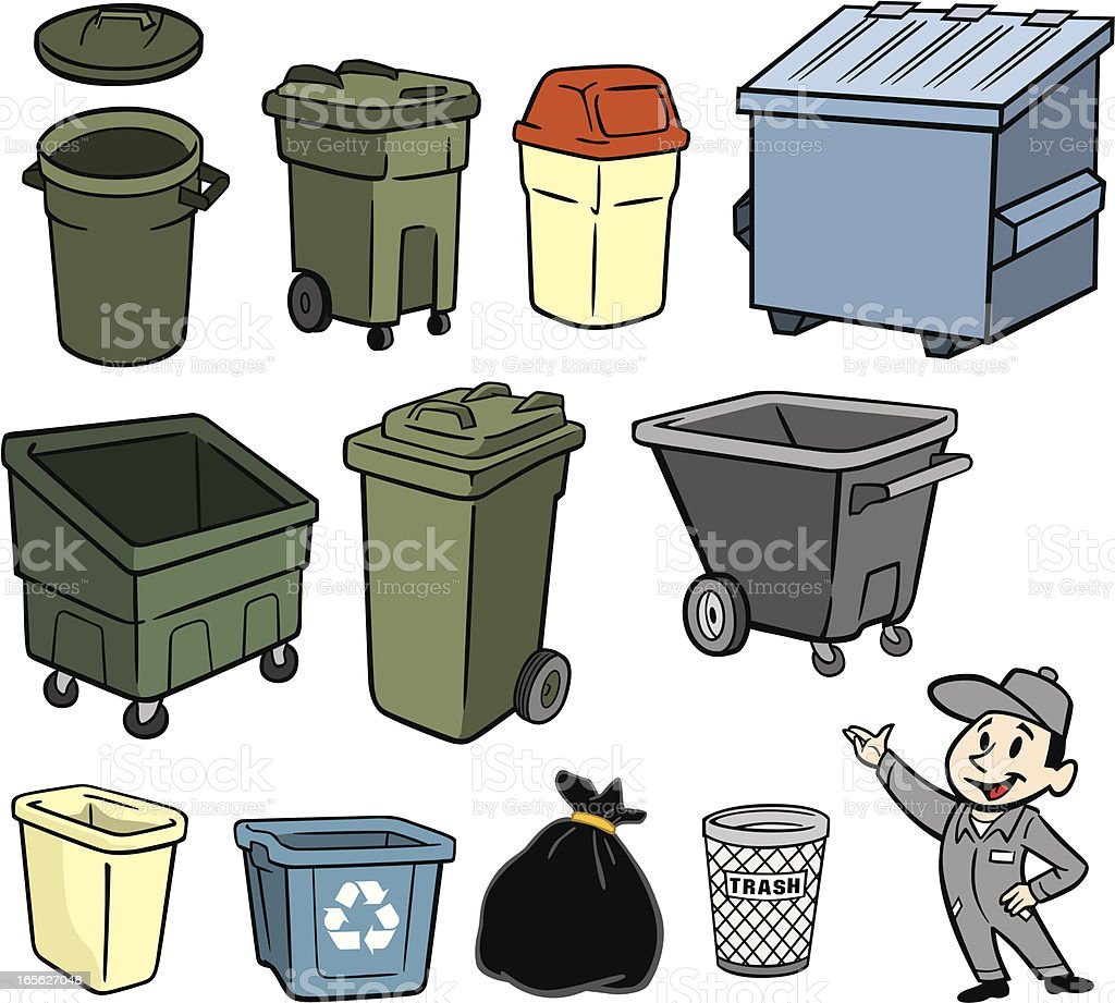 A illustration of a garbage man and trash cans royalty-free stock vector art