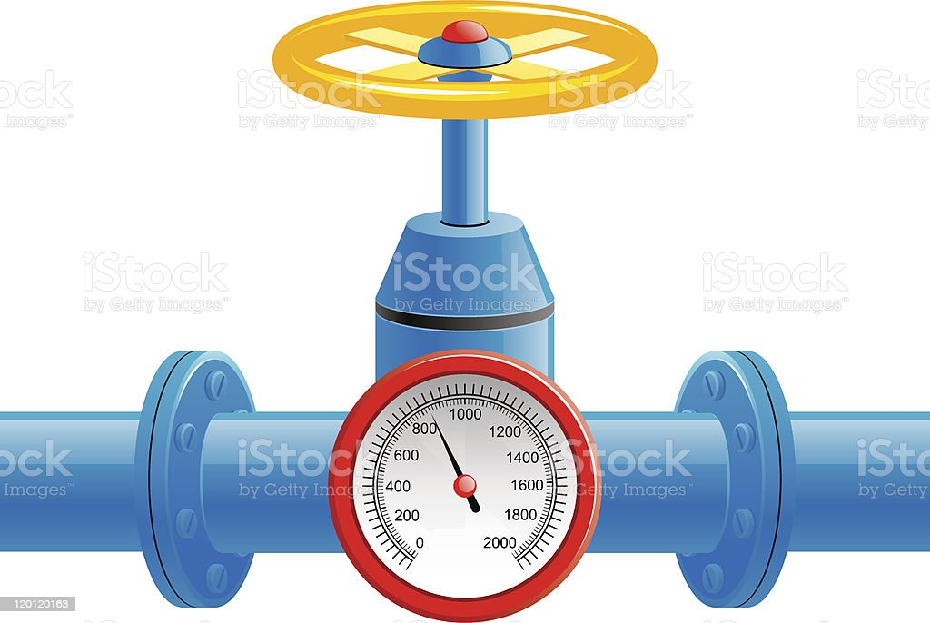 Illustration of a gas pipe valve and pressure meter vector art illustration