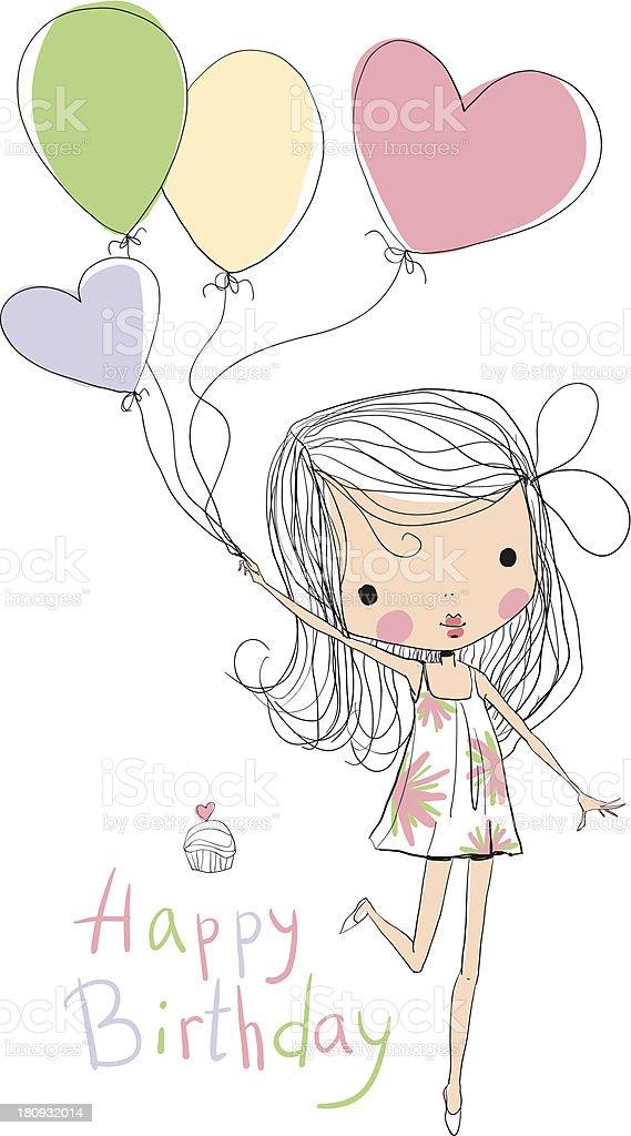 Illustration of a Girl Holding Birthday Balloons royalty-free stock vector art