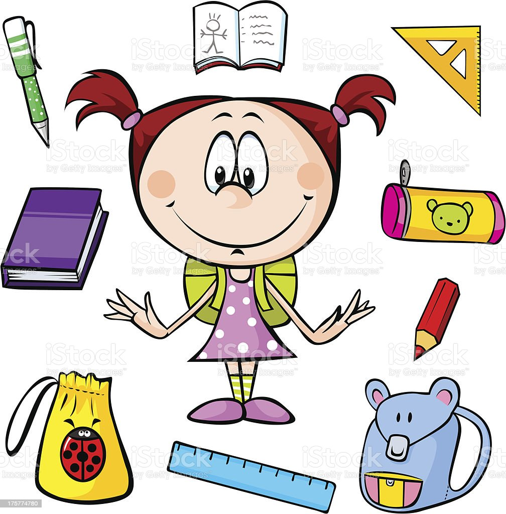 illustration of a girl with school supplies royalty-free stock vector art