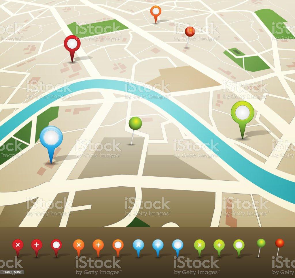 Illustration of a GPS street map royalty-free stock vector art