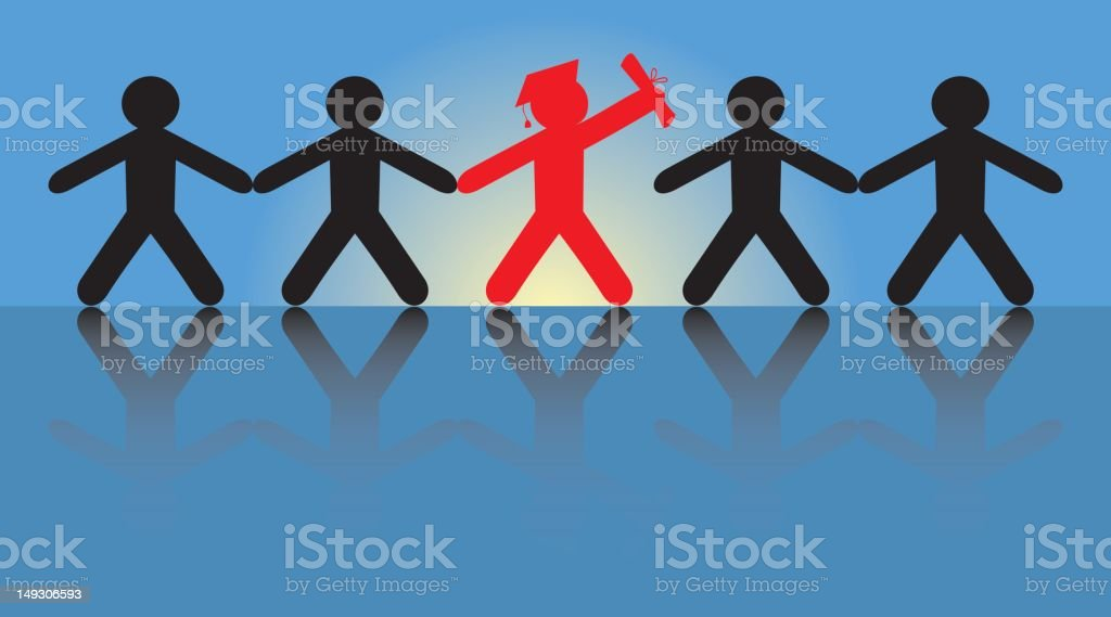 Illustration of a graduate standing out from crowd royalty-free stock vector art