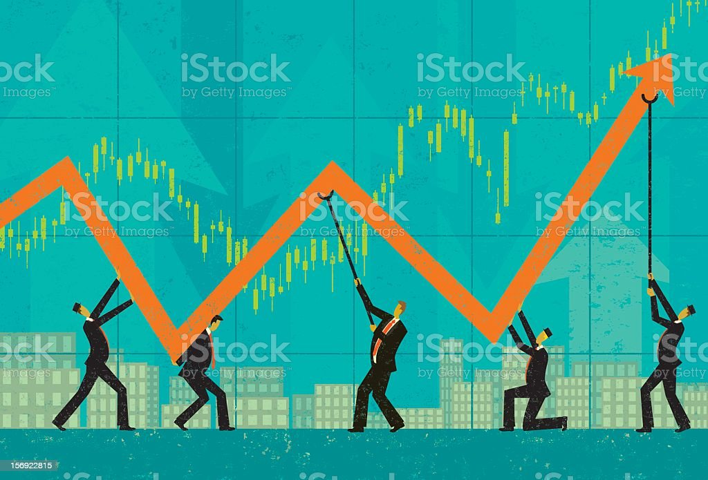 A illustration of a graph and men maintaining profits royalty-free stock vector art