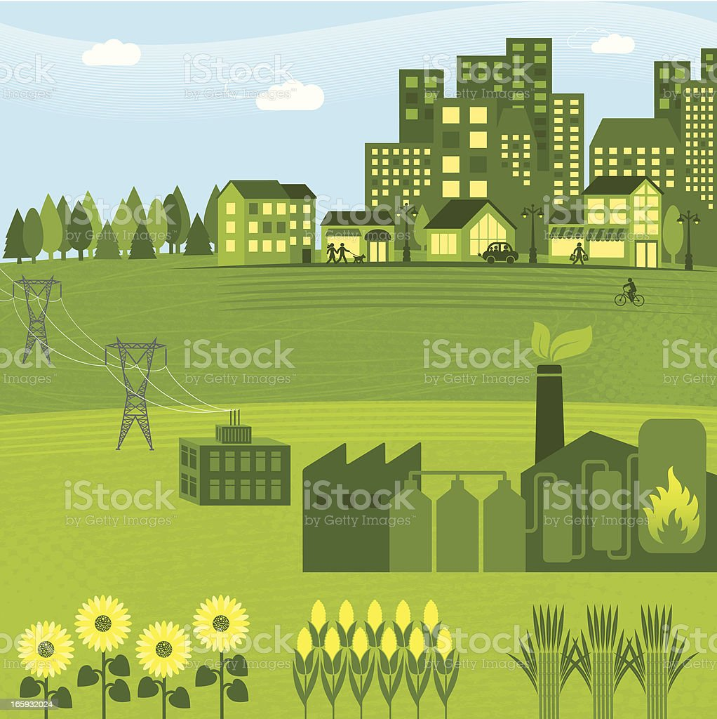 Illustration of a green bio energy graphic royalty-free stock vector art