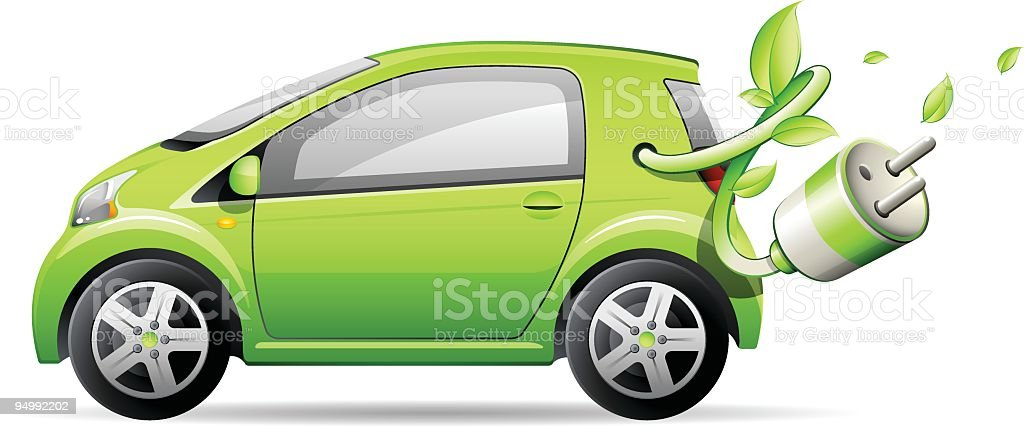 Illustration of a green car with an electric cable attached vector art illustration