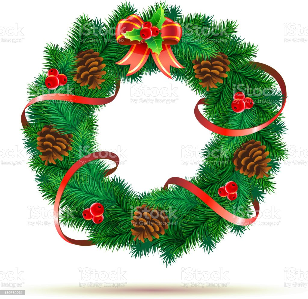 Illustration of a green Christmas wreath with pinecones royalty-free stock vector art