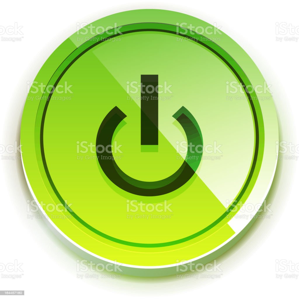 Illustration of a green power button isolated on white royalty-free stock vector art