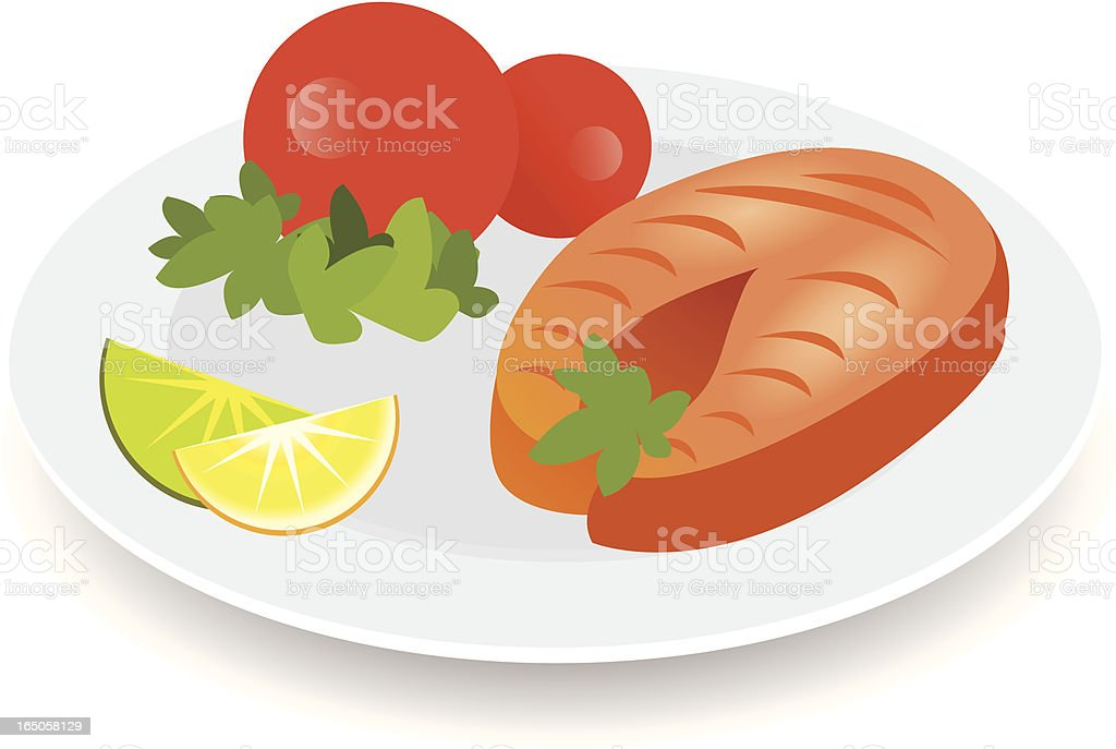 Illustration of a grilled salmon dish on a white background royalty-free stock vector art