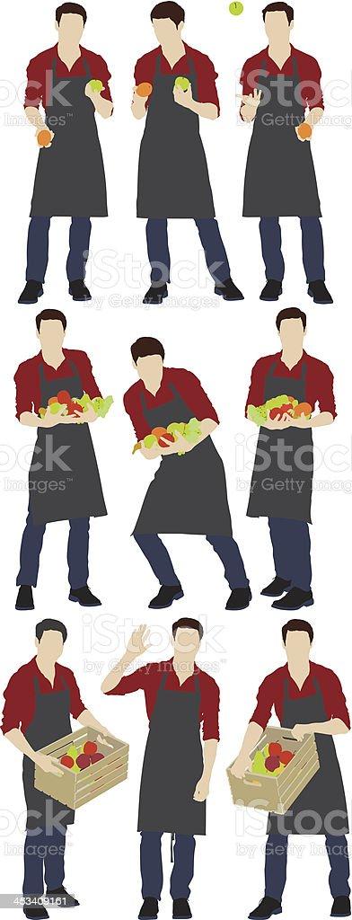Illustration of a grocer vector art illustration