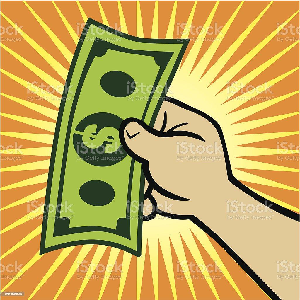 Illustration of a hand holding a dollar bill royalty-free stock vector art