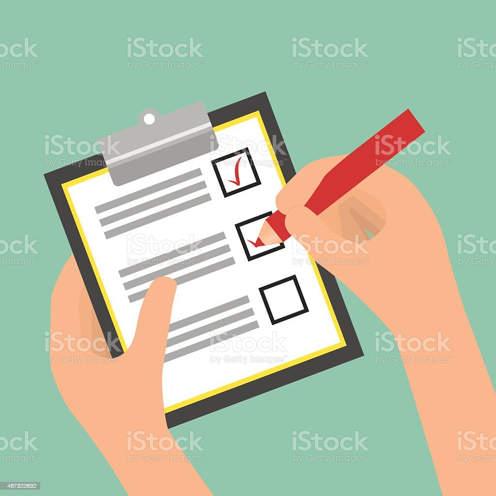 Illustration of a hands filling out a survey with red pencil vector art illustration