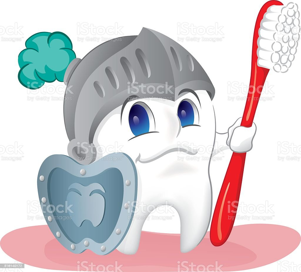 Illustration of a healthy tooth, protected and shielded against caries vector art illustration