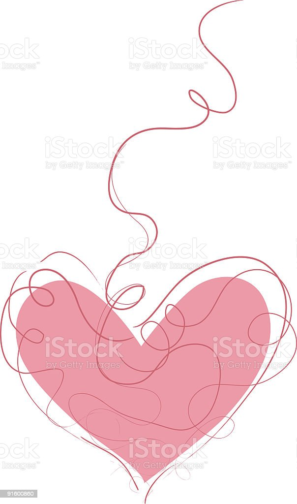 Illustration of a heart with red line swirling around vector art illustration