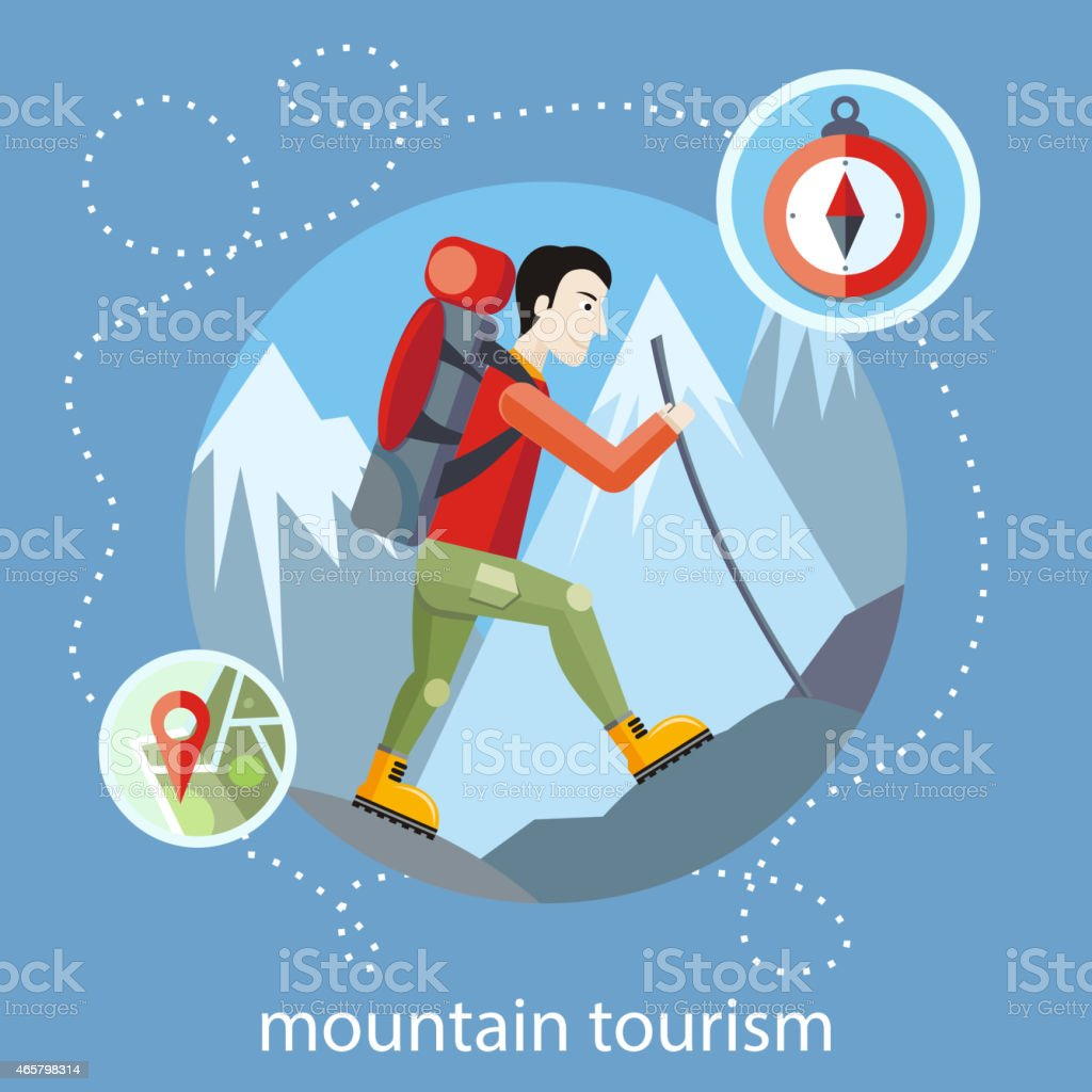 Illustration of a hiker for a mountain tourism flyer vector art illustration