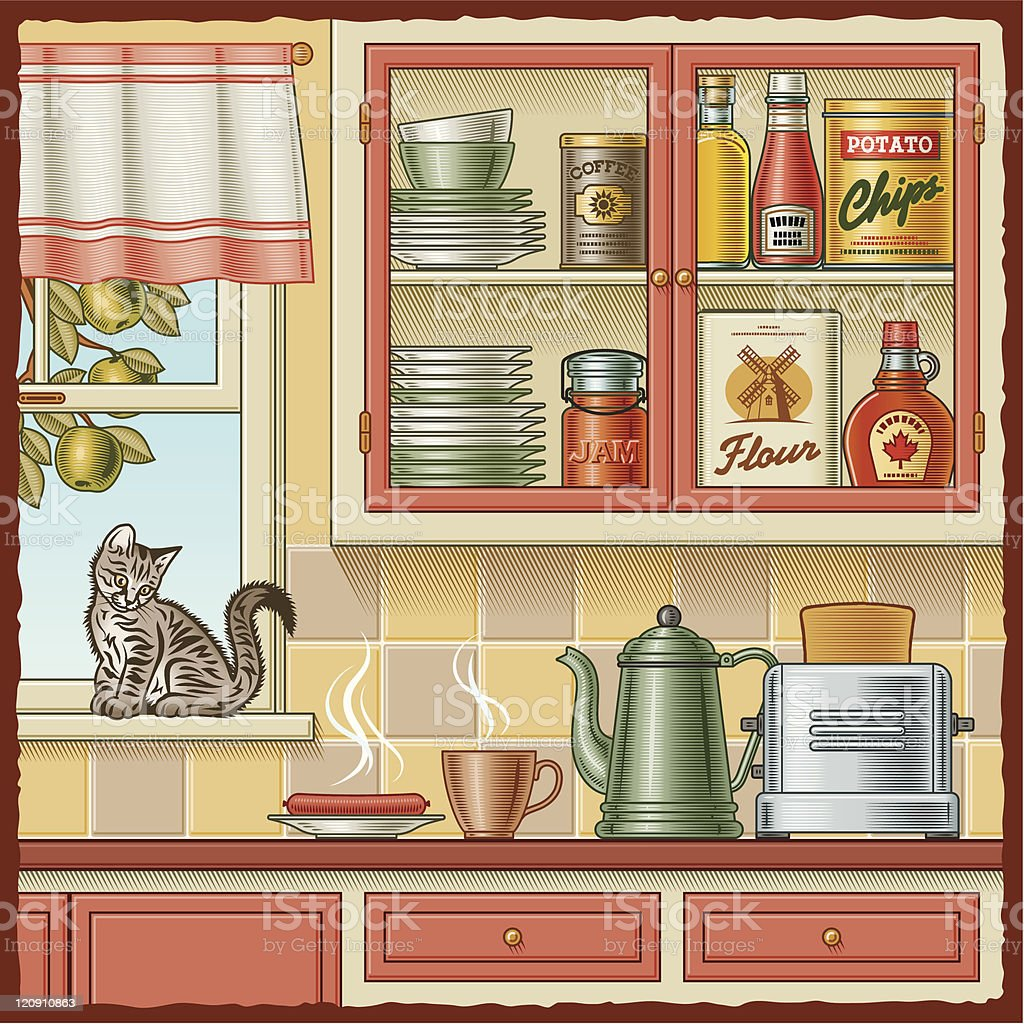 Illustration of a kitchen wall with a cat on the windowsill vector art illustration