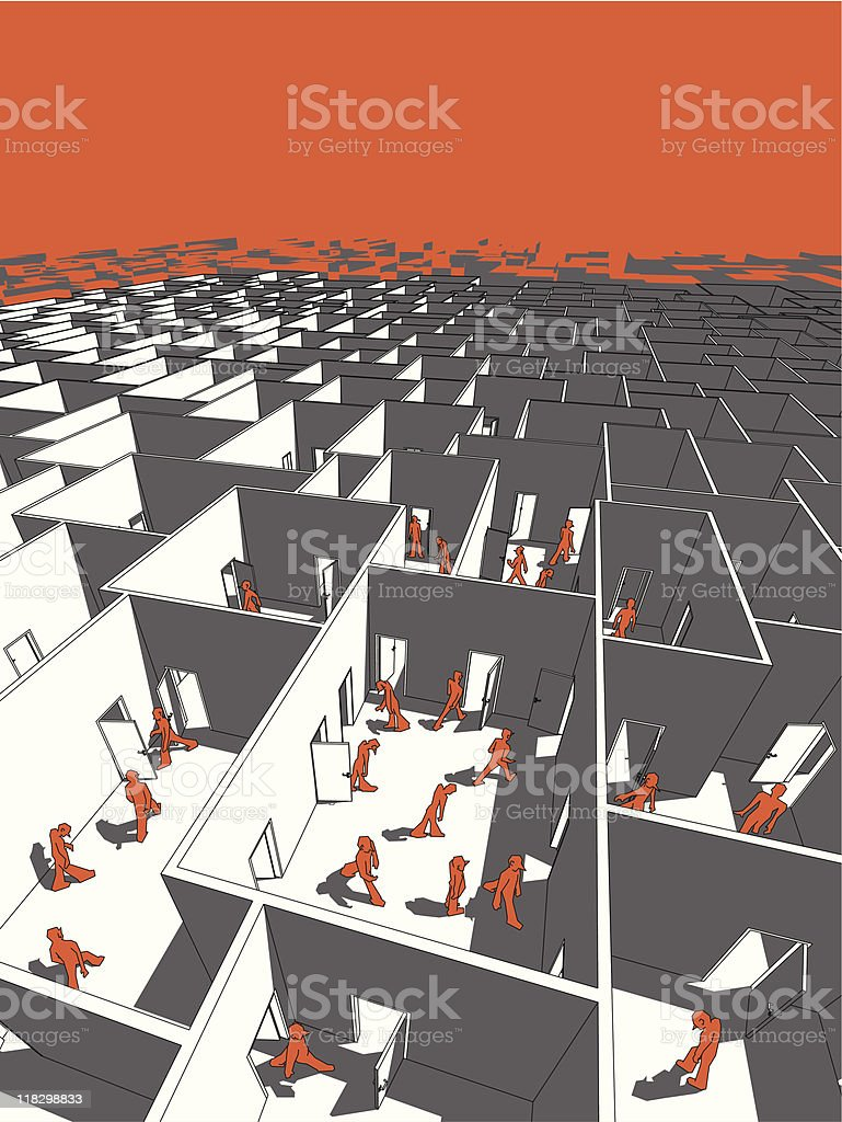 Illustration of a large labyrinth with red 3D figures royalty-free stock vector art