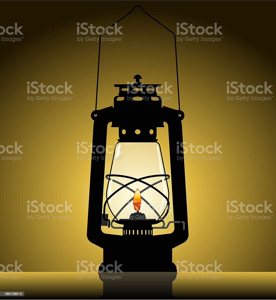 Illustration of a lighted lantern in silhouette royalty-free stock vector art