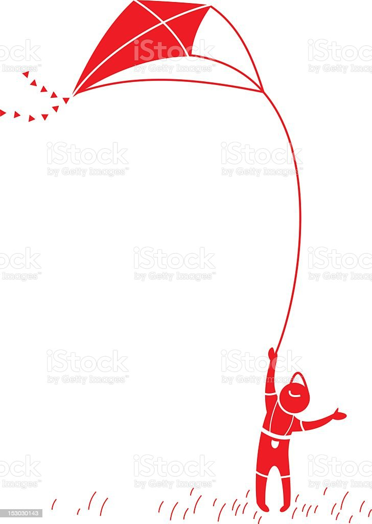 A illustration of a little boy flying a kite vector art illustration