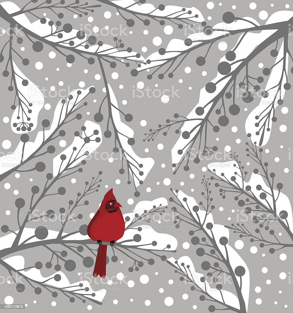 Illustration of a lone cardinal bird on a snowy background royalty-free stock vector art