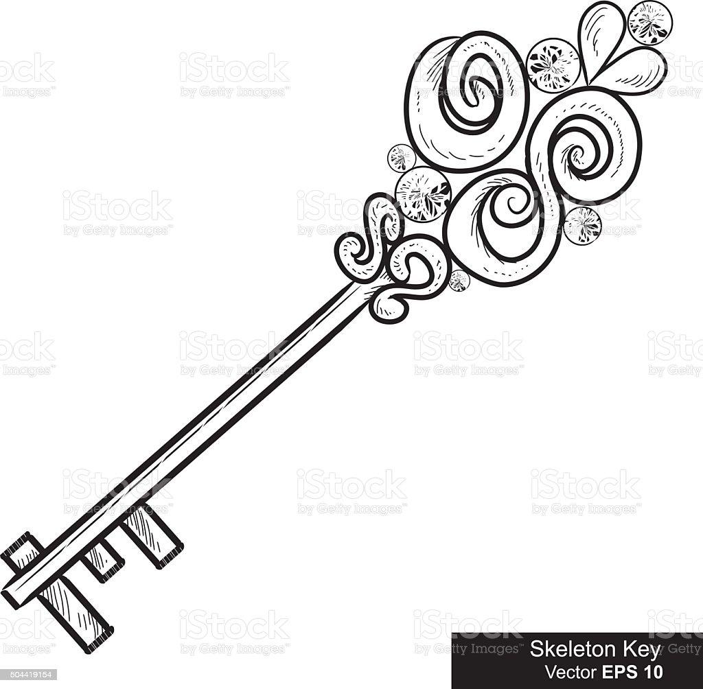 Illustration of a Luxury Skeleton Key vector art illustration