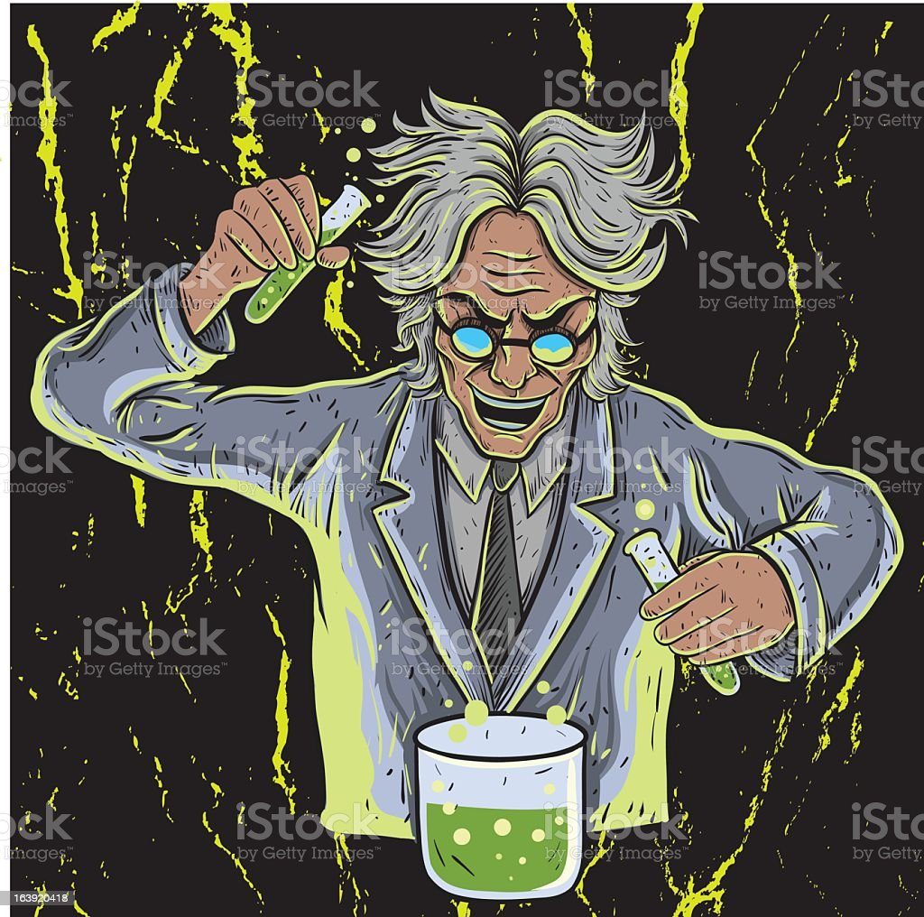 Illustration of a mad scientist making a bubbly green potion royalty-free stock vector art