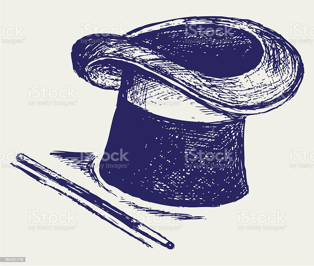 A illustration of a magic top hat and wand vector art illustration