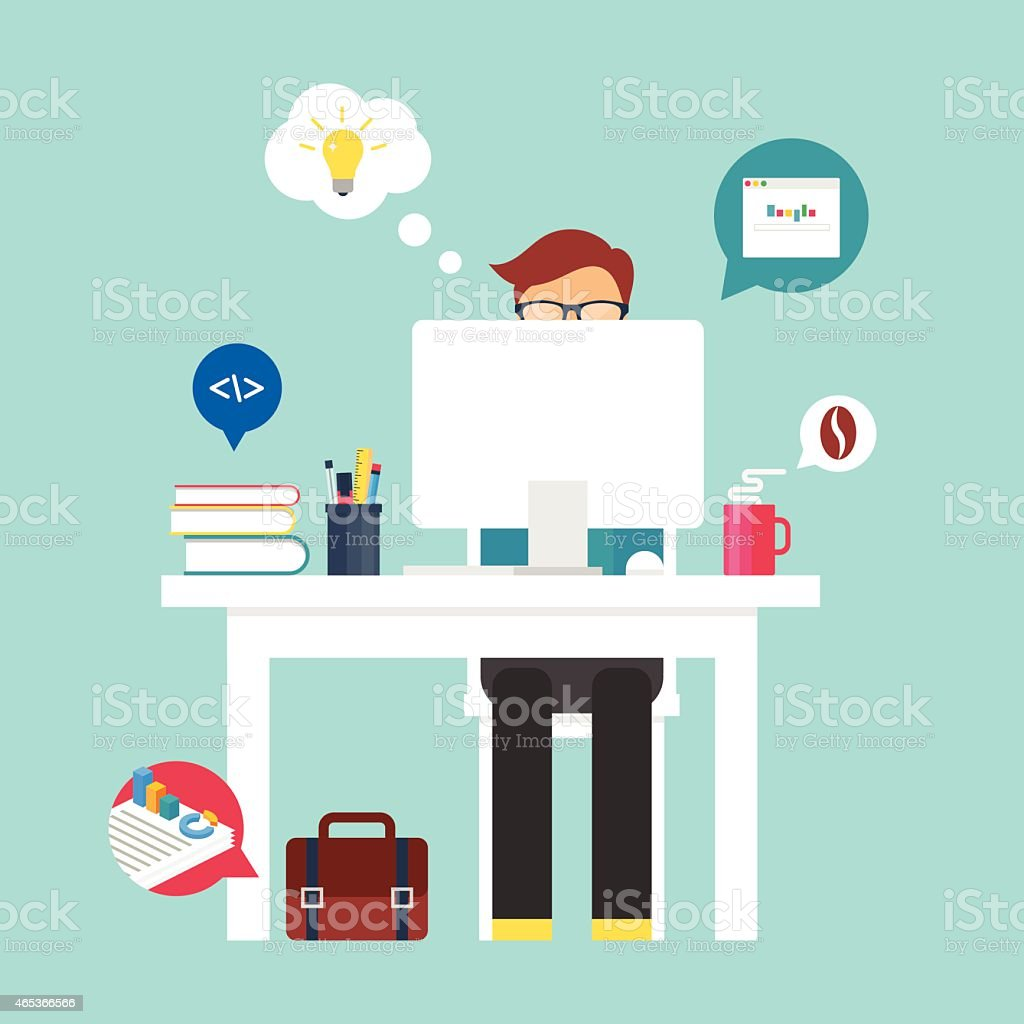 Illustration of a man brainstorming at his laptop on a table vector art illustration