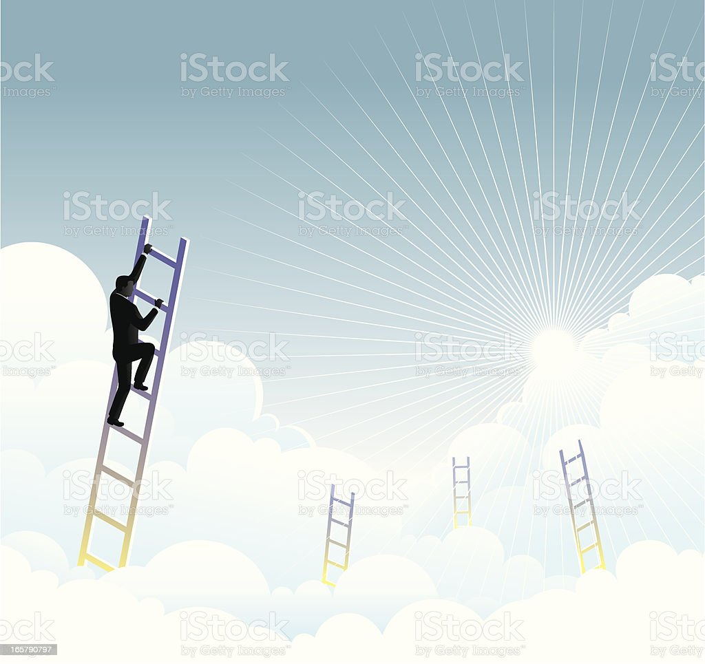 A illustration of a man climbing a ladder up in the clouds royalty-free stock vector art