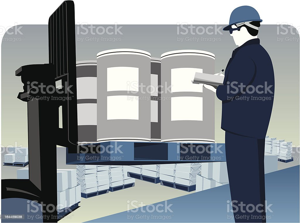 A illustration of a man conducting a quality check vector art illustration