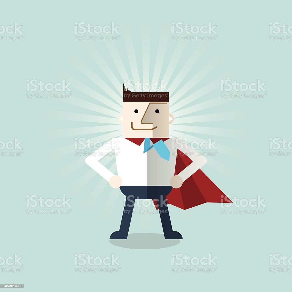 Illustration of a man in work attire as a superhero  vector art illustration