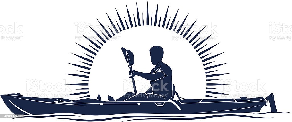 A illustration of a man on a kayak vector art illustration
