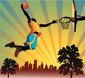 Illustration of a man performing a slam dunk