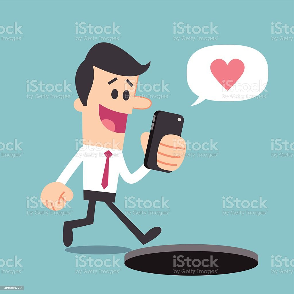 Illustration of a man texting while walking with heart cloud vector art illustration