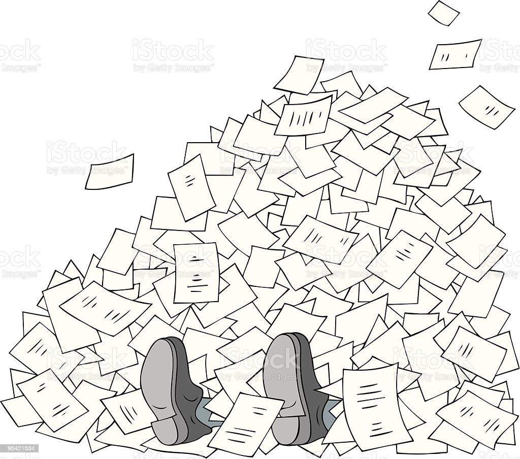 Illustration of a man under papers representing bureaucracy royalty-free stock vector art