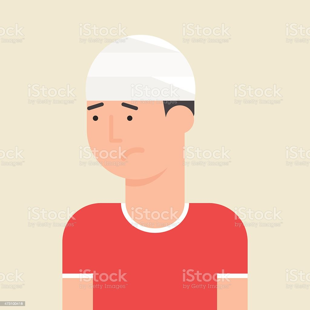 Illustration of a man with bandage on his head vector art illustration