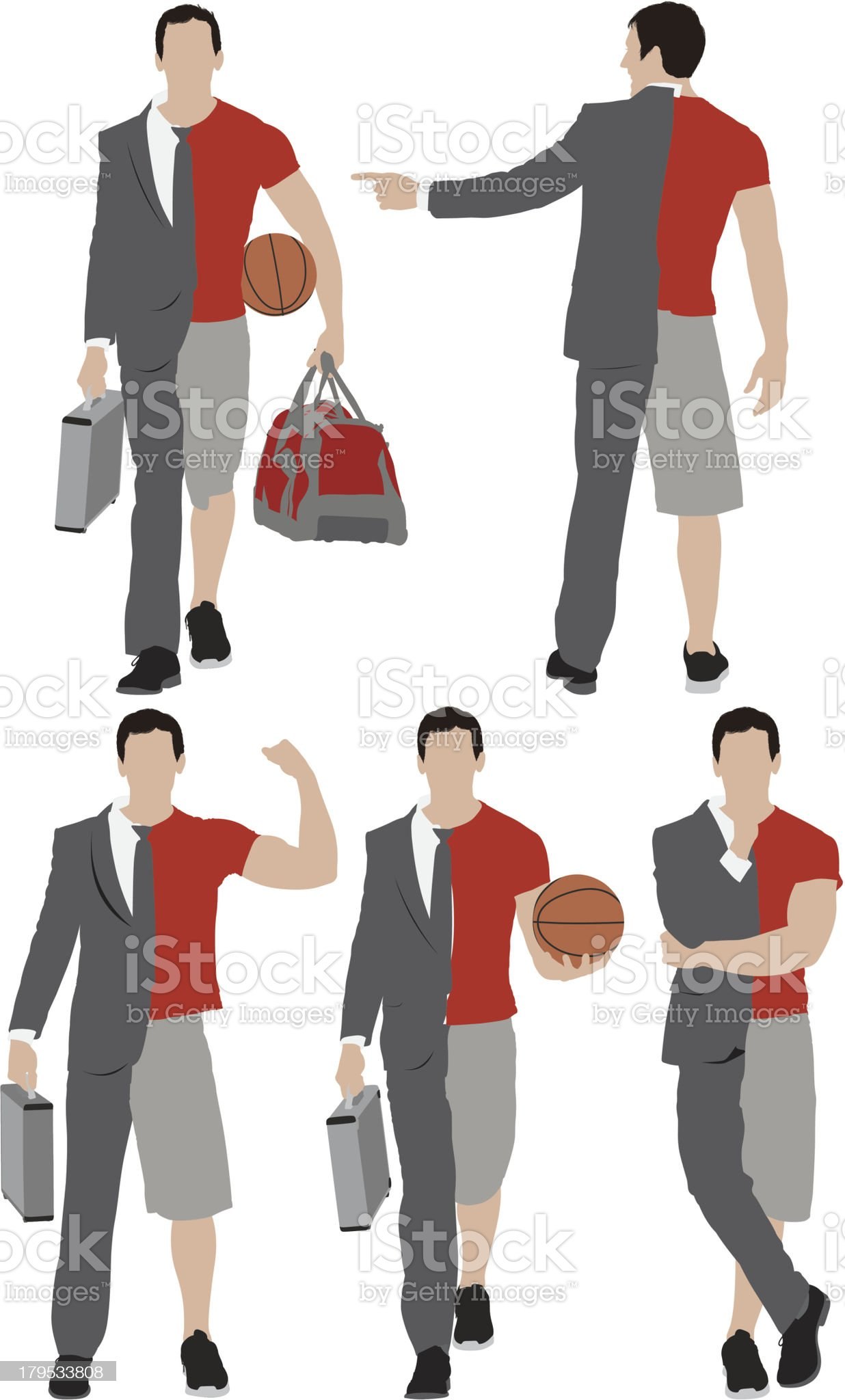 Illustration of a man with split personality royalty-free stock vector art