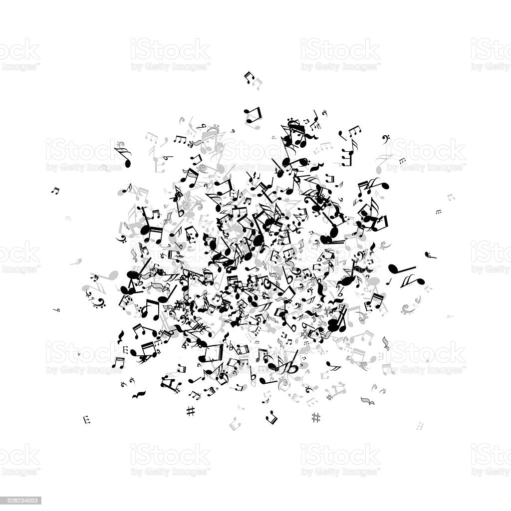 Illustration of a many little messy music notes vector vector art illustration
